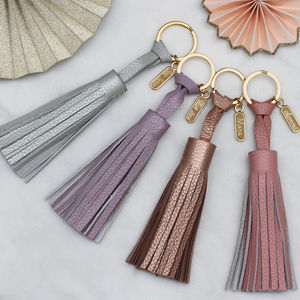 Personalised Luxury Pastel Leather Tassel Key Ring