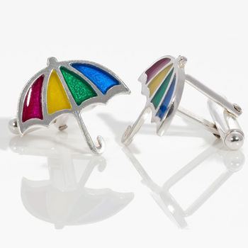 Silver And Resin Umbrella Cufflinks