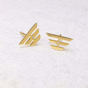 18ct Gold Vermeil Diamond Three Bar Earrings - fine jewellery