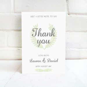Grecian Pastels Wedding Thank You Card - wedding stationery