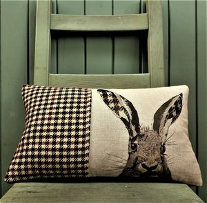 Tweed And Linen Hare Cushion - cushions