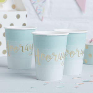 Mint Ombre Gold Foiled Hooray Party Paper Cups