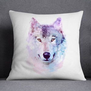 Watercolour Wolf Print Cushion