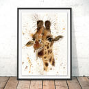 Splatter Giraffe Watercolour Fine Art Gicée Print
