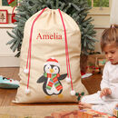 Percy Penguin Large Personalised Christmas Sack