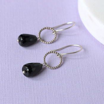Onyx And Silver Drop Earrings