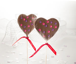 Pack Of Two Wedding Favour Heart Lollipops - edible favours