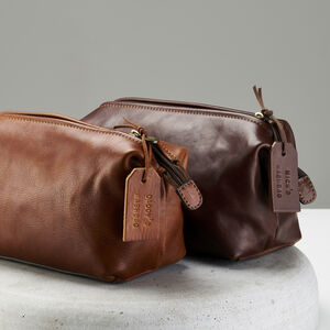 Personalised Genuine Leather Washbag