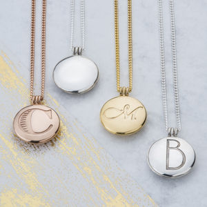 Initial Locket With Hidden Message - 50th anniversary: gold