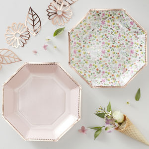 Ditsy Floral Design Rose Gold Foiled Paper Plates