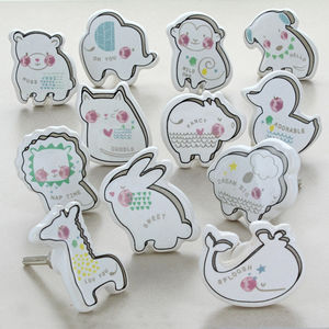 Baby Zoo Cartoons Children's Room Ceramic Door Knobs - home accessories