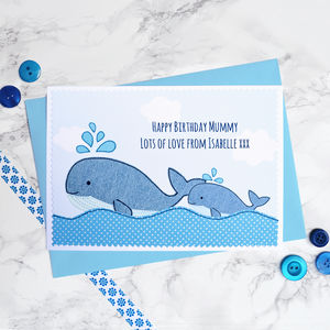 'Whale And Baby' Personalised Birthday Card