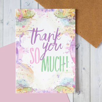 'Thank You So Much' Watercolour Thank You Card