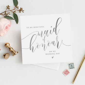 To My Maid Of Honour Thank You Card | Silver Effect