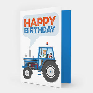Blue Tractor Birthday Card - shop by category