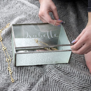 Personalised Textured Glass Jewellery Box - 80th birthday gifts