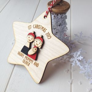 Personalised Family's First Christmas Tree Decoration - baubles & hanging decorations