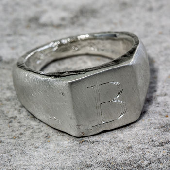 Sterling Silver Personalised Square Sand Cast Ring