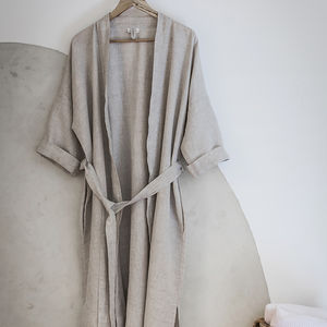 Linen Bathrobe - lingerie & nightwear