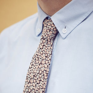 Black And Pale Pink Floral Tie