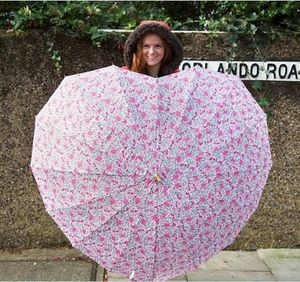 Floral Heart Shaped Umbrella