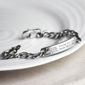 Mens Steel Footprint Bracelet For Dad