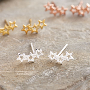 Silver Twinkle Star Earrings Studs - winter sale
