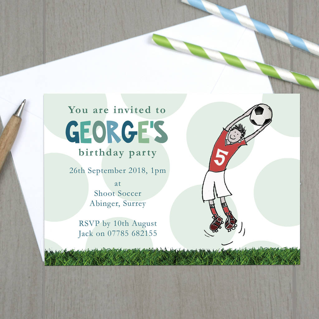 personalised red or blue football party invitations by molly moo ...