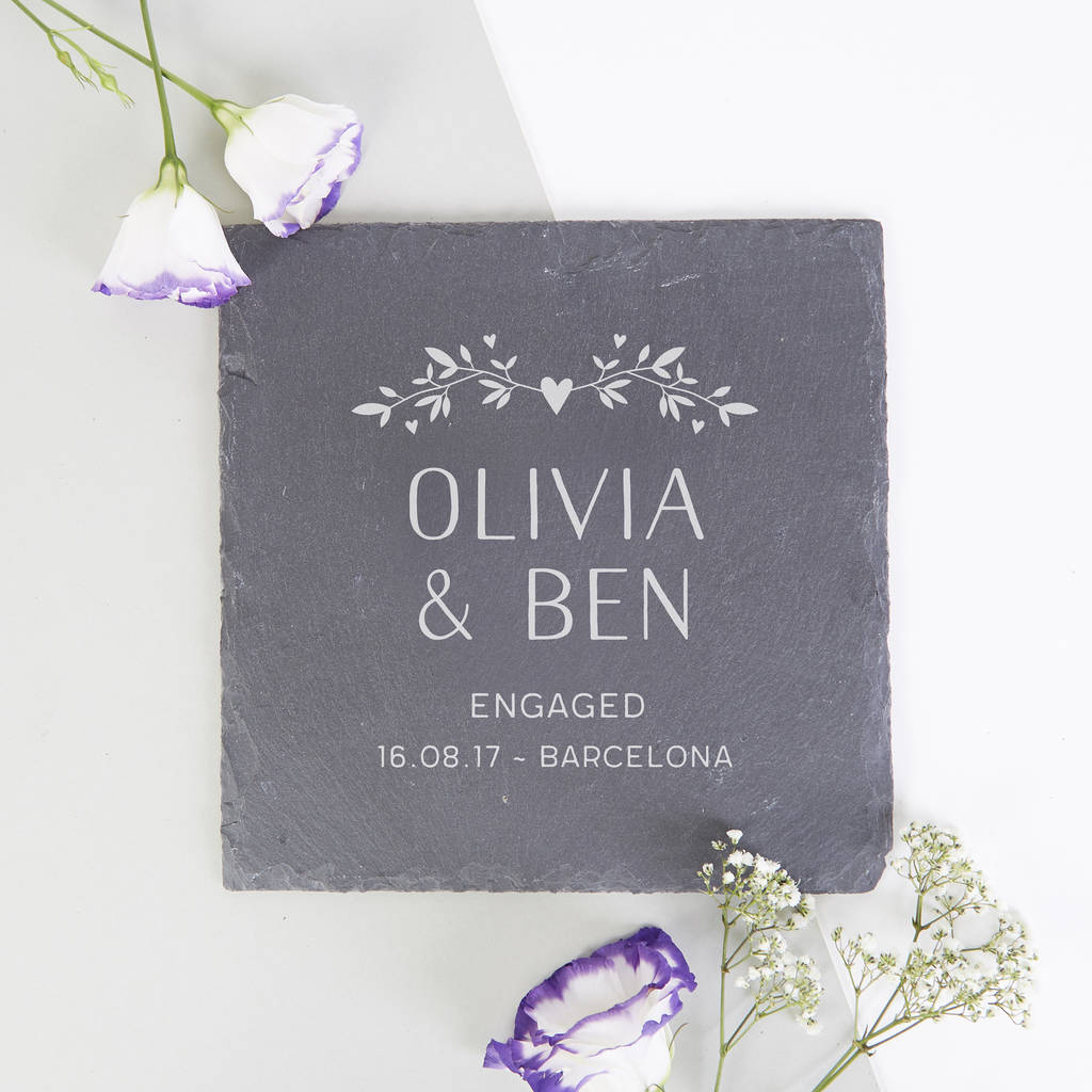 Personalised Slate Serving Board Engagement Gift