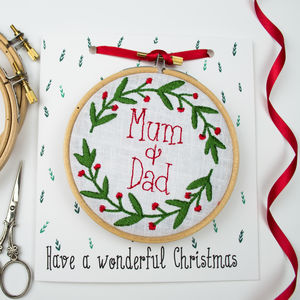 Personalised Embroidered Hoop Christmas Wreath Card - cards & wrap