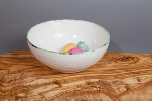 Ceramic Porcelain Copper Green Rim Pasta Bowl - dining room