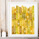 Edinburgh Cityscape Art Print In Yellows