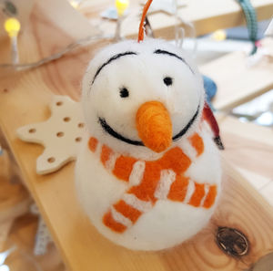 Needle Felt Snowman With Orange Scarf