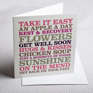Typographic Get Well Soon Card - shop by category