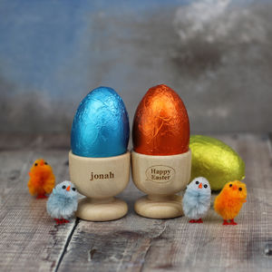 Personalised Easter Egg Cup With Chocolate Egg - egg cups & cosies
