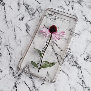 Personalised Echinacea Floral Print Clear Phone Case