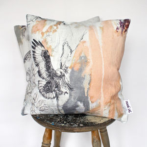 'Jackal Buzzard' Printed Linen Cushion - bedroom