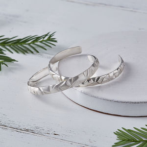 Men's Solid Silver Cuff Bracelet Bangle - gifts for fathers