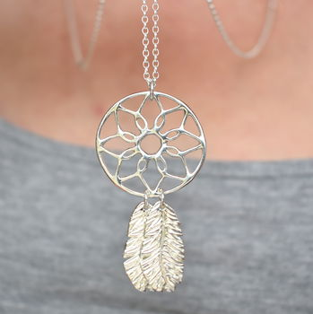 Large Dream Catcher Charm Necklace