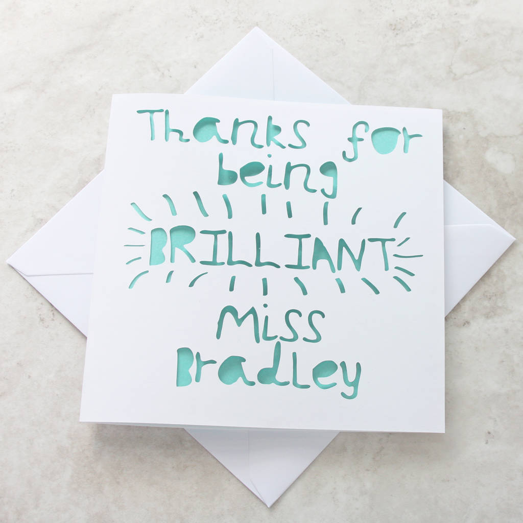personalised brilliant teacher thank you card by whole in the middle