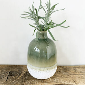 Green Dip Effect Stone Vase