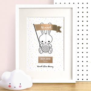 Personalised New Baby Bunny Metallic Foil Print