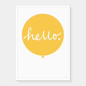 Hello Balloon Print Yellow - children's room