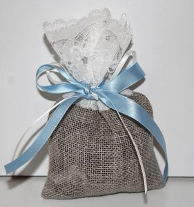 New Burlap And Lace Wedding Favour Bag