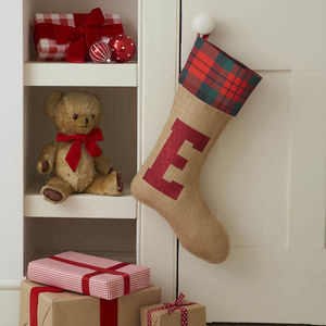 Christmas Stocking With Glitter Initial - stockings & sacks