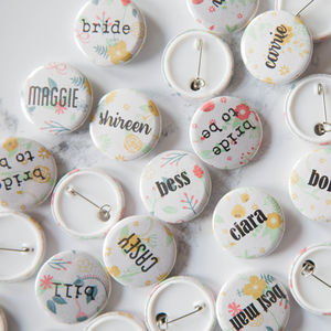 Personalised Floral Name Badge - wedding favours