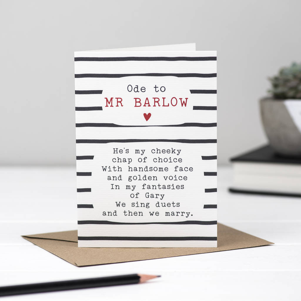 Gary Barlow Poem Card
