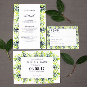 Palm Leaf Wedding Invitation