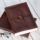 Handcrafted A4 Embossed And Stoned Leather Journal