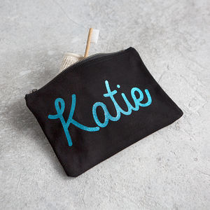 Personalised Glitter Canvas Accessory Bag